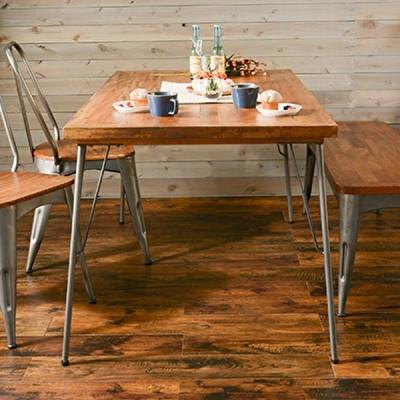 ダイニングテーブル 単体 120cm 天然木 マンゴー材 アイアン カフェ ヴィンテージ風 おしゃれ
