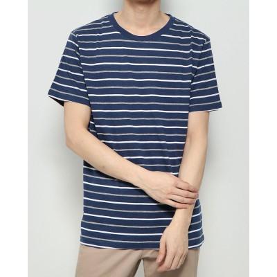 スタイルブロック STYLEBLOCK ボーダー柄クルーネック半袖Tシャツ (マルチボーダーネイビー)