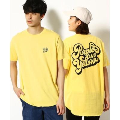 Purple&Yellow/パープルアンドイエロー ロゴ バックプリント 半袖ロングTシャツ イエロー S