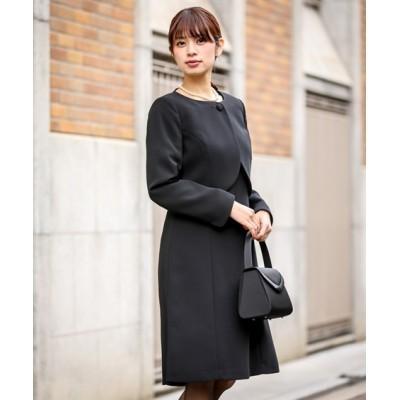 【喪服。礼服】ボレロアンサンブル(ノーカラーボレロ+Aラインワンピース)(オールシーズン対応)<大きいサイズ有> (ブラックフォーマル)funeral outfit, plus size funeral outfit