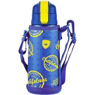 ステンレス ボトル キッズ 600ml 保冷 水筒 ベルト付 保冷カバーもセット お子様でも開けやすいワンタッチ栓 自動ロック付きで安心 ち