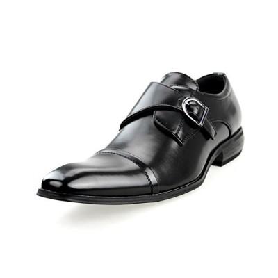 [エムエムワン] 【AZ373B】 ブラック 43(26.5cm) ビジネスシューズ 靴 紳士靴 ビジネス モンクストラップ ロングノーズ