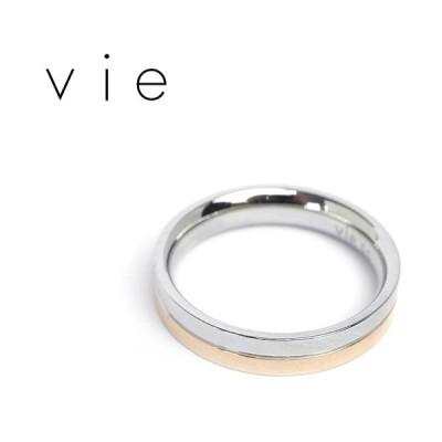 vie ヴィー リング 指輪 平打ち ピンク シンプル ライン 金属アレルギー対応 アレルギーフリー ステンレス R1032P