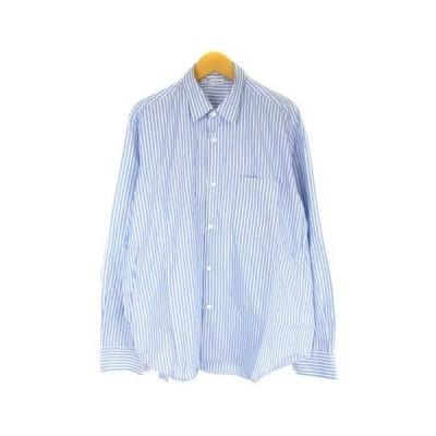 【中古】ケンペル KEMPEL シャツ ストライプ 長袖 ワイシャツ コットン ブルー ホワイト 46 メンズ 【ベクトル 古着】