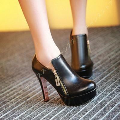 厚底 ショートブーツ ブーティ レディース ブーツ 歩きやすい 黒 ハイヒール 靴 ピンヒール 厚底ブーツ 痛くない 疲れない ラウンドトゥ プラットフォーム