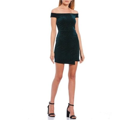 ミッドナイト ドール レディース ワンピース トップス Off-The-Shoulder Glitter Velvet Asymmetric Hem Dress