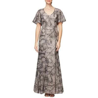 アレックスイブニングス レディース ワンピース トップス V-Neck Flutter Sleeve Sequin Lace Gown