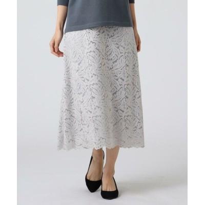 UNTITLED/アンタイトル ◆ローラレースAラインスカート ライトグレー(011) 99(SSS)