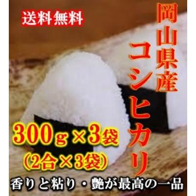 米 ポイント消化 送料無料 300 g 食品 お試し 米 こめ 令和元年産岡山県産コシヒカリ 300g(2合)×3袋 1kg未満 こしひかり メール便 代引