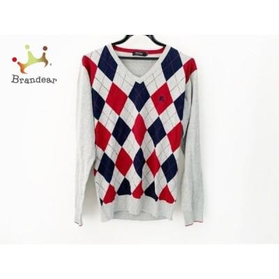 バーバリーブラックレーベル 長袖セーター サイズ3 L メンズ 美品 グレー×ネイビー×レッド 新着 20200428