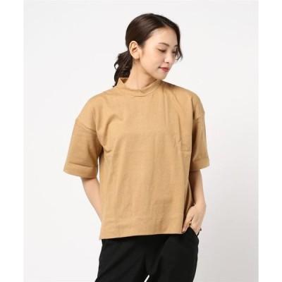 tシャツ Tシャツ 天竺ハイネックビッグシルエットサイドスリット半袖Tシャツカットソー