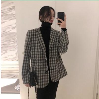 グレンチェック ジャンパースカート 韓国 オルチャン 韓国 ファッション レディース アウター ジャケット 秋 冬 カジュアル チェック ロ
