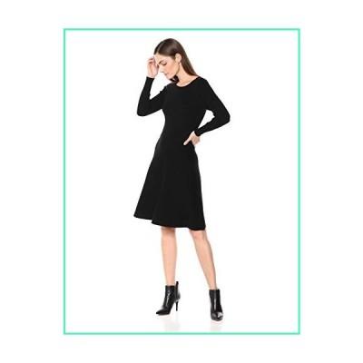 Lark & Ro Women's Long Sleeve Ribbed Crewneck Fit and Flare Sweater Dress, Black, Large並行輸入品
