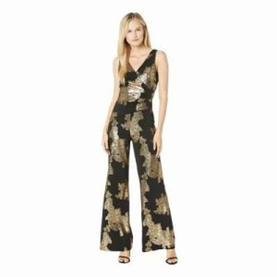 ナインウェスト オールインワン Ity Rose Foil Printed Sleeveless Jumpsuit w/ Surplus Detail & Asymmetrical Bodice Bl