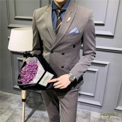 メンズ 3ピーススーツ 3点スーツセット テーラードジャケット ビジネススーツ チェック柄 カジュアル スリム 細身 結婚式 通勤 おしゃれ