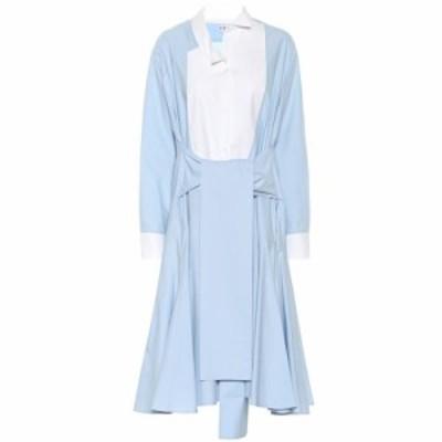 ロエベ Loewe レディース ワンピース シャツワンピース ワンピース・ドレス Asymmetric cotton shirt dress baby blue/white