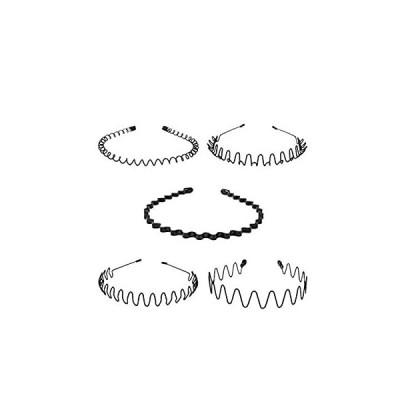 Kingsie カチューシャ 5本セット ヘアバンド 波型 メンズ レディース 男女兼用 髪留め ヘアアクセサリー 黒