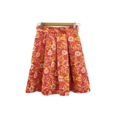 【中古】バナーバレット Banner Barrett スカート フレア ミニ ボックスプリーツ ギャザー 花柄 36 赤 黄 レッド イエロー レディース 【ベクトル 古着】