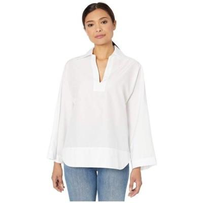 エリオットローレン レディース シャツ トップス White on White Relaxed Shirt with Kimono Sleeve