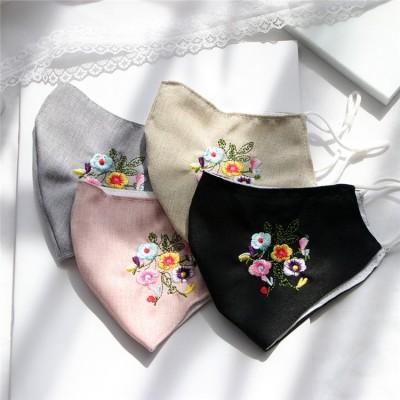 洗えるマスク 布 二層構造 大きめ 女性用 蒸れない 布マスク 息苦しくない 可愛い おしゃれ 刺繍 花柄 UVカット 防塵 通気 長さ調整 レディース メンズ 夏用マスク 個包装