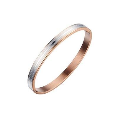 Titanium Couple Matching Set Bangle Rose Gold and Black Plating Bracelet (L