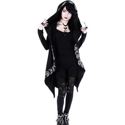 女性コートパンクゴシック特大フードグラフィックスウェットシャツ(s2012250530)