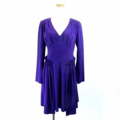 【中古】ナネットレポー nanette lepore ドレス ノースリーブワンピース ひざ丈 紫 パープル 4 M レディース