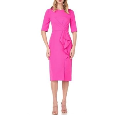 ケイアンガー レディース ワンピース トップス Tinsley Elbow Sleeve Ruffle Front Stretch Crepe Midi Sheath Dress Magenta