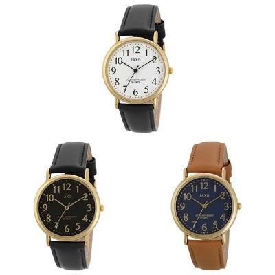 腕時計 メンズ ペア風革ウォッチ メンズ ブラック×ホワイト/ブラック×ブラック/キャメル/HG198 サンフレイム