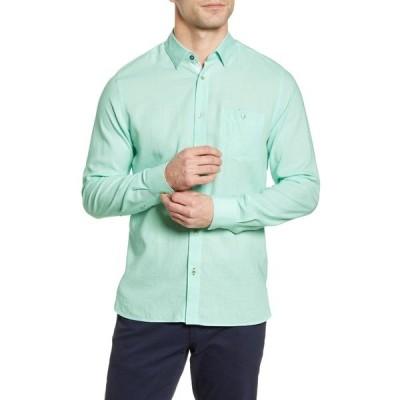 テッドベーカー メンズ シャツ トップス Notip Button-Up Linen Blend Shirt GREEN