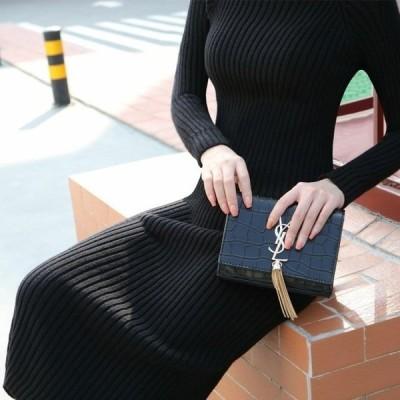 ニットタイトワンピース(ブラック) トップス 冬 秋物 レディース 服 大人