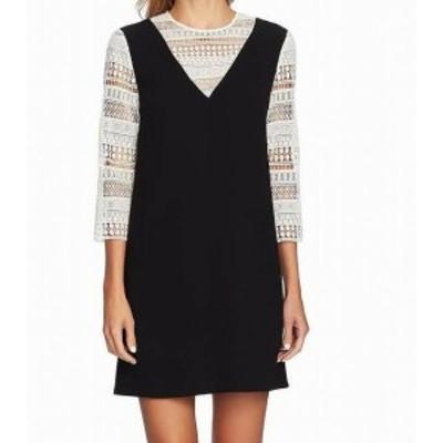 CeCe  ファッション ドレス CeCe Womens Dress Black Size 6 Shift Jewel Neck 3/4 Lace Sleeve