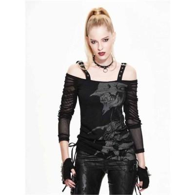 トップス Devil Fashion Women Casual Rock Black Mesh goth Top punk Long Sleeve Tee tshirt