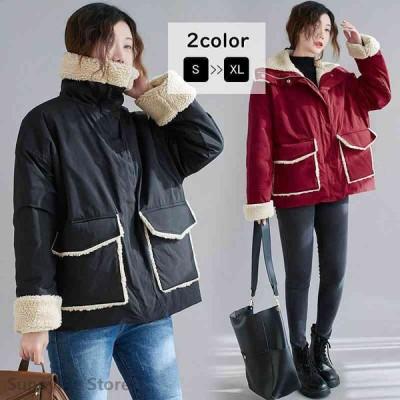 ジャケット 長袖 フード 裏ボア 裏起毛 無地 アウター 羽織り 防寒 暖かい ゆったり 秋冬