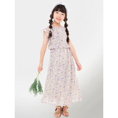 【UNICA】花柄シフォンスクエアフリルロングワンピース 100~140