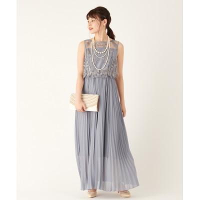 レースXプリーツスカートドレス