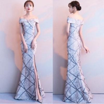 ロングドレス パーティードレス ローブデコルテ 結婚式 二次会 お呼ばれ マキシ丈 マーメイド ドレス