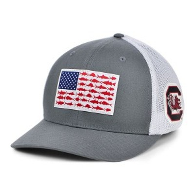 コロンビア メンズ 帽子 アクセサリー South Carolina Gamecocks PFG Fish Flag Stretch-fitted Cap Charcoal/White