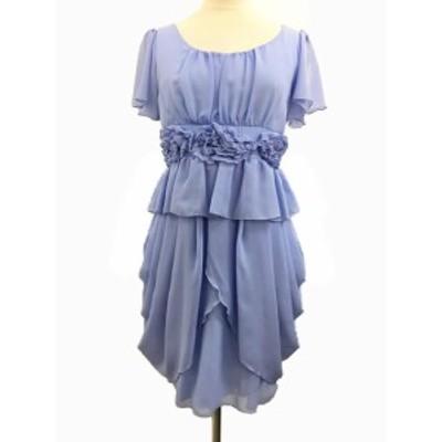 【中古】全日本婦人子供服工業組合連合会 ワンピース ドレス ドレープ フリル ミニ 半袖 9AR 水色 ライトブルー