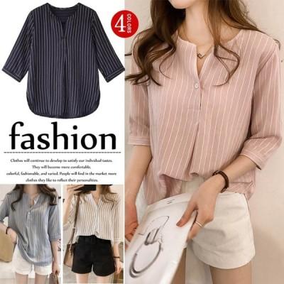シャツ レディース 少女 夏 クルーネック ストライプ 韓国風 ファッション 七分袖