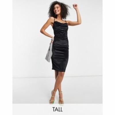 パリジャン Parisian Tall レディース ワンピース キャミワンピ ワンピース・ドレス Velvet Cami Strap Midi Dress With Cowl Neck In Bl