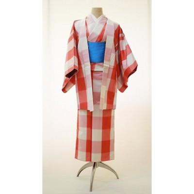 正絹仕立て上がりアンサンブル 女性用着物 赤格子