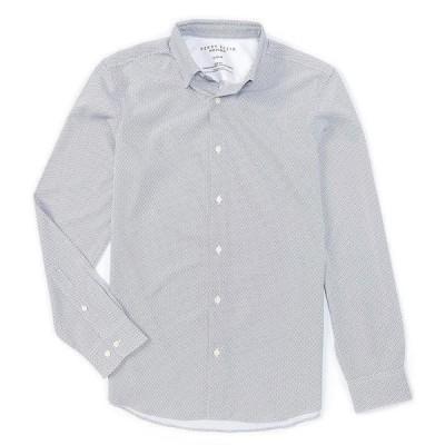 ペリーエリス メンズ シャツ トップス Slim-Fit Zig-Zag Print Performance Stretch Long-Sleeve Woven Shirt Bright White