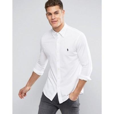 ラルフ ローレン Polo Ralph Lauren メンズ シャツ トップス slim fit pique shirt player logo button down in white White