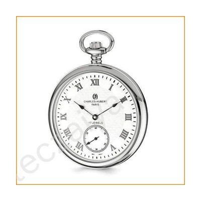 "Charles Hubert Stainless Steel Men's Open Face White Dial Pocket Watch 14.5""並行輸入品"