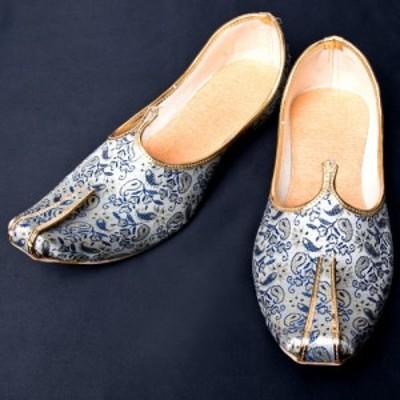 男性用宮廷靴 モジャリブルー×ホワイト / 仮装 コスチューム フラットシューズ ペッタンコ靴 インド アジア サンダル レディース エスニ