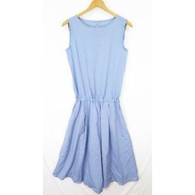 【中古】N.Natural Beauty Basic オールインワン サロペット ノースリーブ ワイドパンツ M ブルー sa6300 レディース