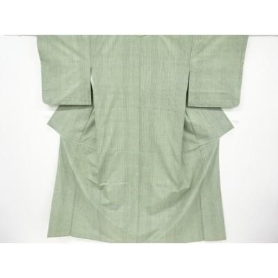 リサイクル 縞織り出し手織り紬着物