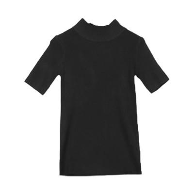 コウベレタス KOBE LETTUCE 5分袖リブニット 【ハイネック】(ブラック)