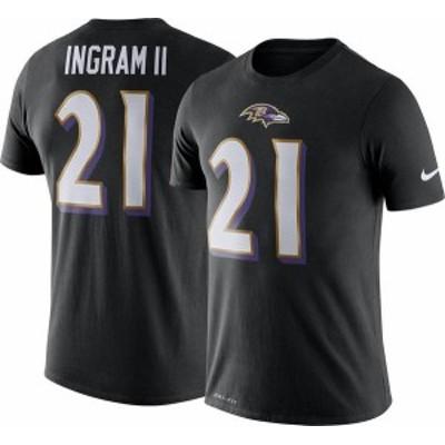 ナイキ メンズ Tシャツ トップス Nike Men's Baltimore Ravens Mark Ingram #21 Logo Black T-Shirt